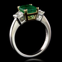 Platinum, 18K Yellow Gold Estate Emerald and Diamond Ring