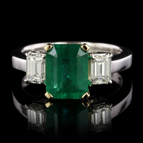 Platinum, 18K Yellow Gold Emerald and Diamond Ring