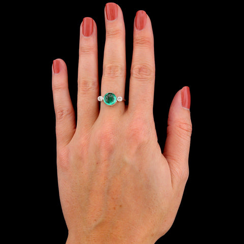 Vintage 14K White Gold Green Tourmaline and Diamond Ring