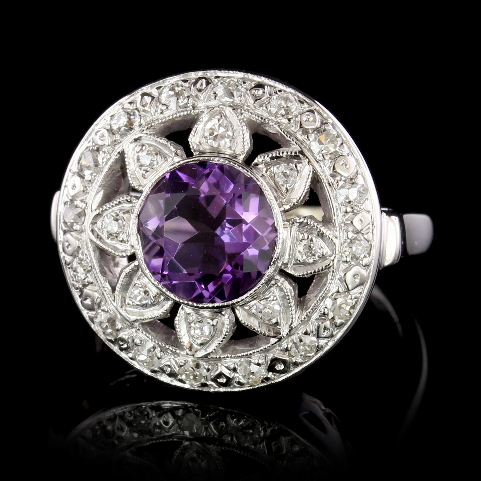14K White Gold Estate Amethyst Diamond Ring