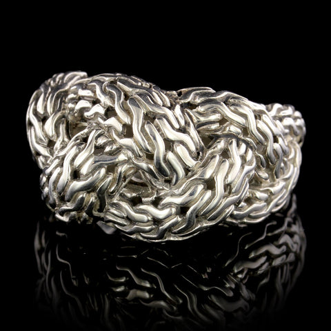 John Hardy Sterling Silver Estate Braided Dome Ring