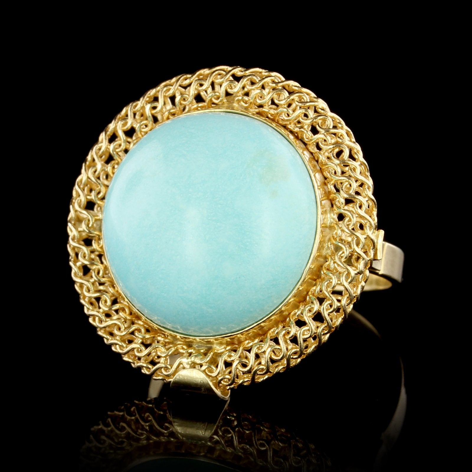 18K Yellow Gold Estate Turquoise Ring