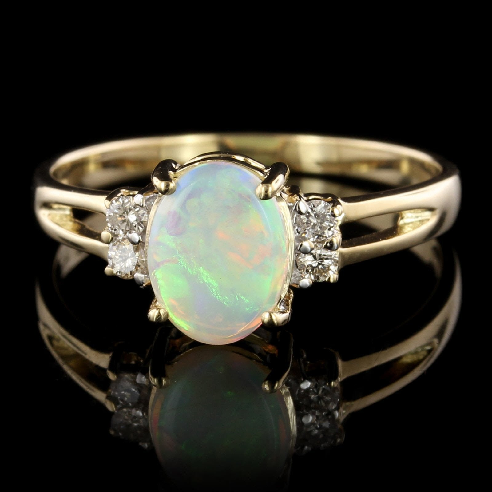 14K Yellow Gold Estate Opal and Diamond Ring