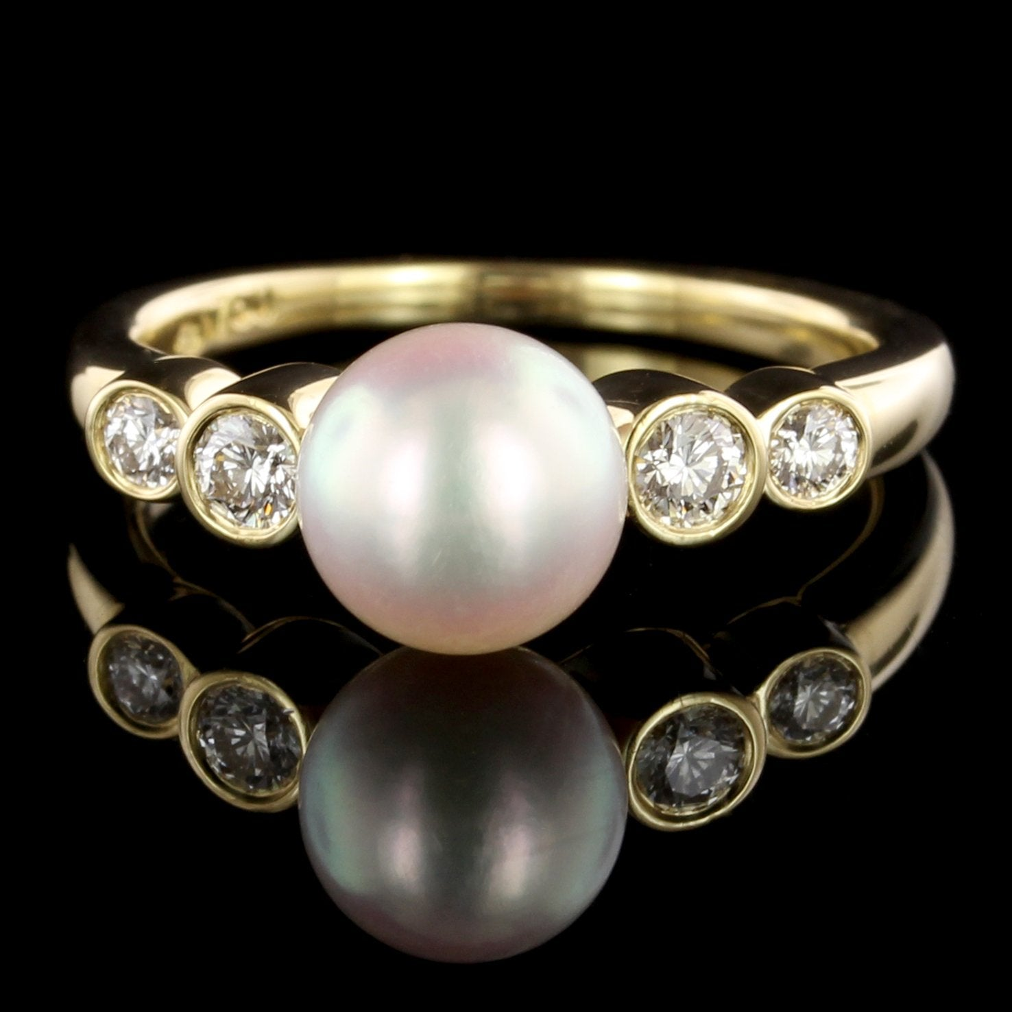 Mikimoto 18K Yellow Gold Estate Cultured Pearl and Diamond Ring