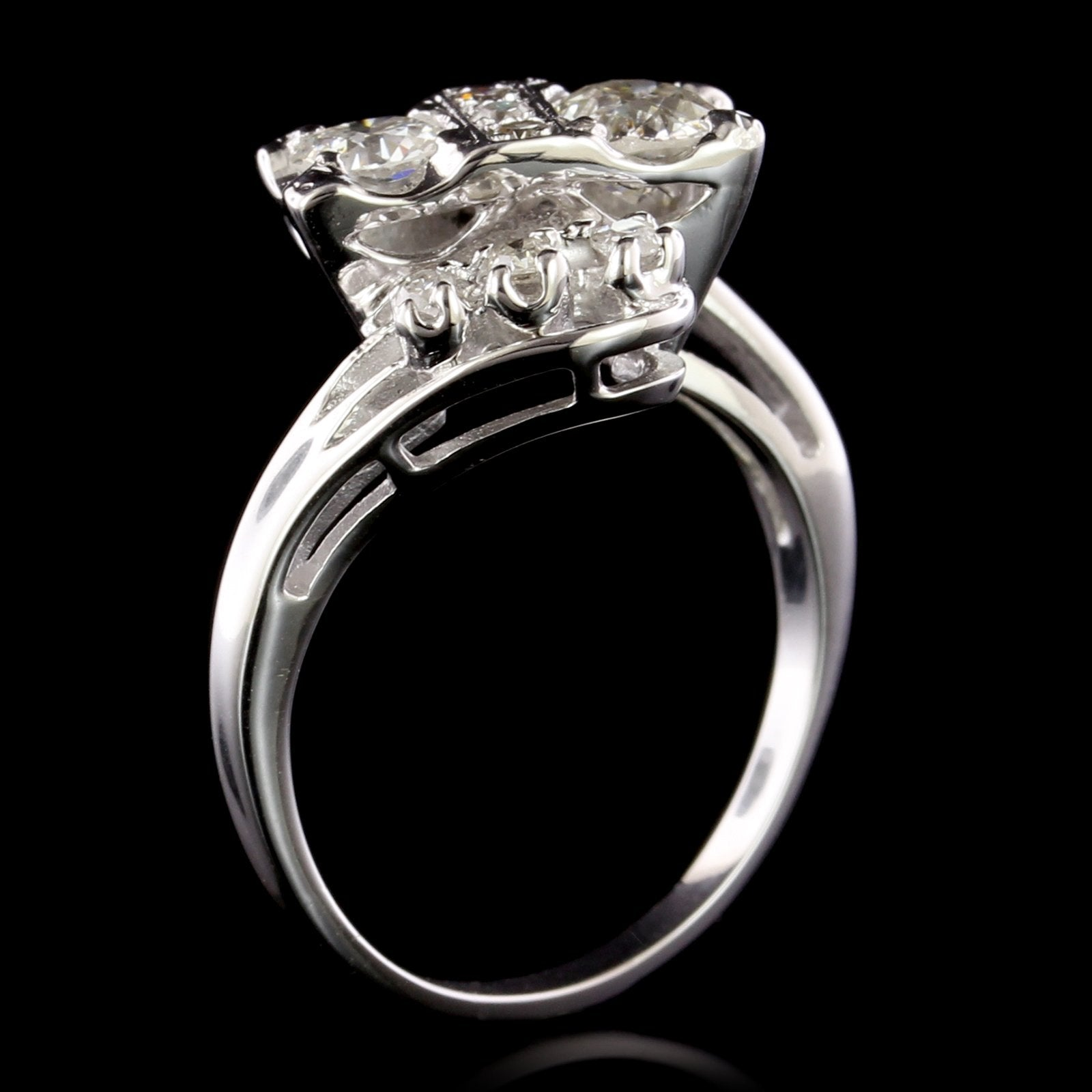 14K White Gold Estate Diamond Bypass Ring