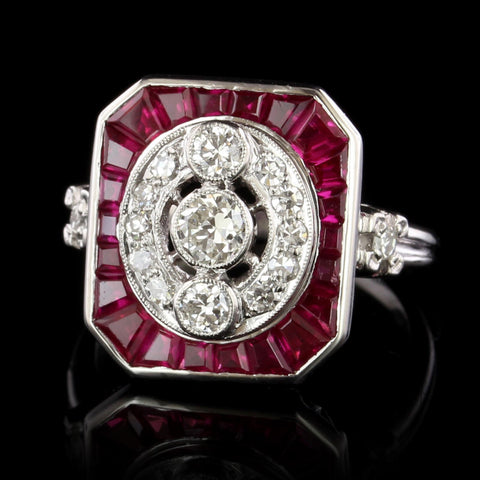 Platinum Estate Synthetic Ruby and Diamond Ring