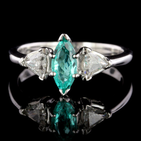 14K White Gold Estate Paraiba Tourmaline and Diamond Ring