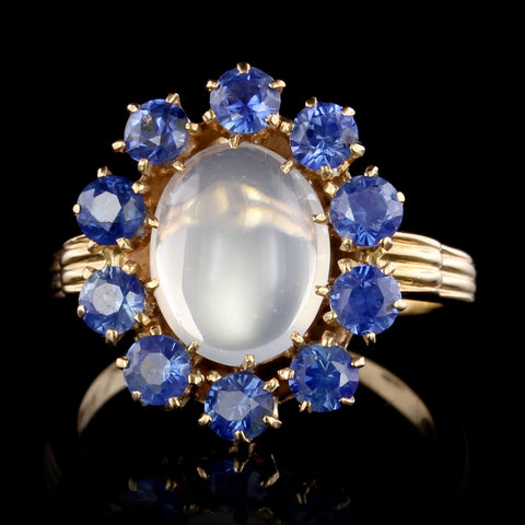 14K Yellow Gold Moonstone and Sapphire Ring
