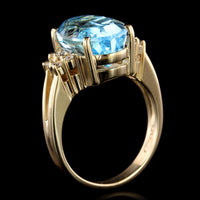 14K Yellow Gold Estate Blue Topaz and Diamond Ring