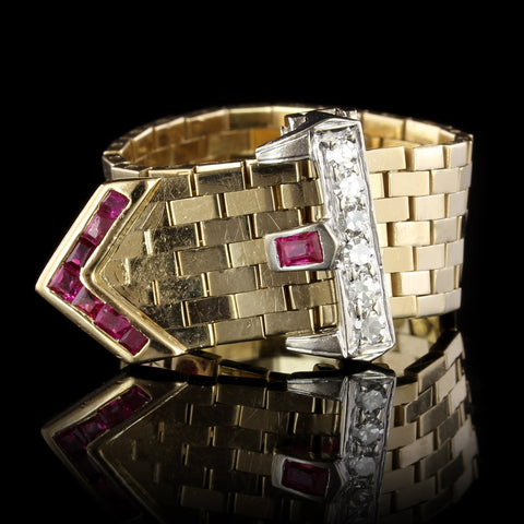 Retro 14K Two-tone Gold Estate Ruby and Diamond Buckle Ring