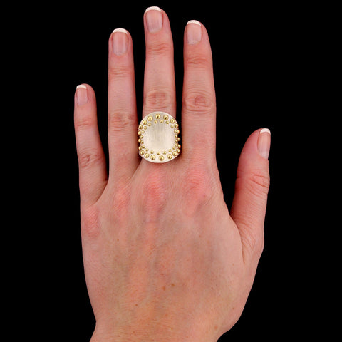John Hardy Dot Sterling Silver and 18K Yellow Gold Estate Ring