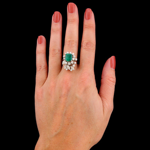 14K White Gold Estate Emerald and Diamond Ring