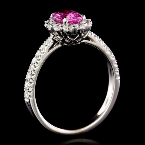 18K White Gold Estate Pink Sapphire and Diamond Ring