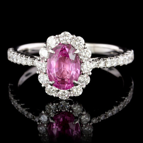 18K White Gold Pink Sapphire and Diamomd Ring