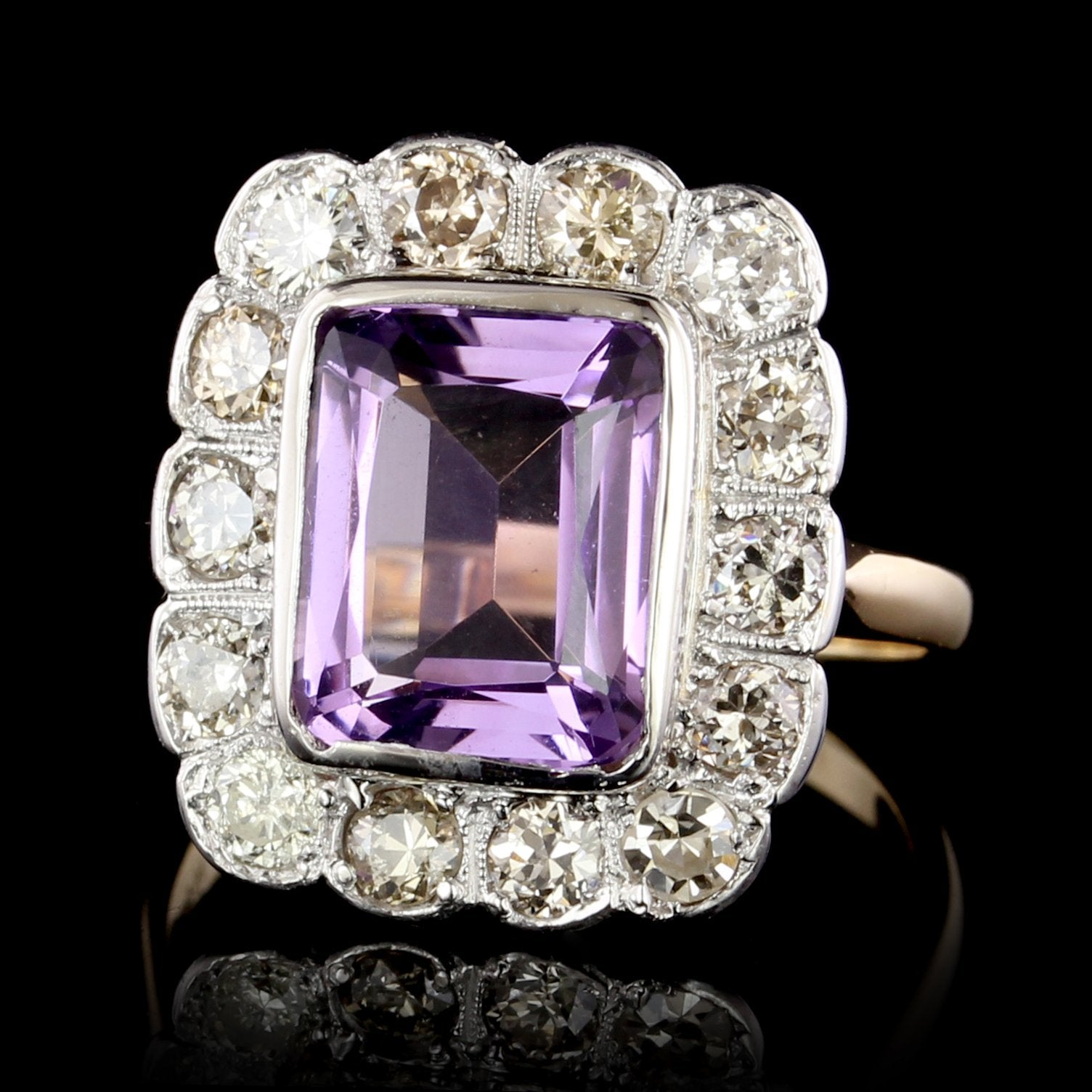 Vintage 14K Two-tone Gold Amethyst and Diamond Ring
