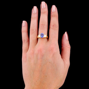 18K Yellow Gold Estate Tanzanite and Diamond Ring
