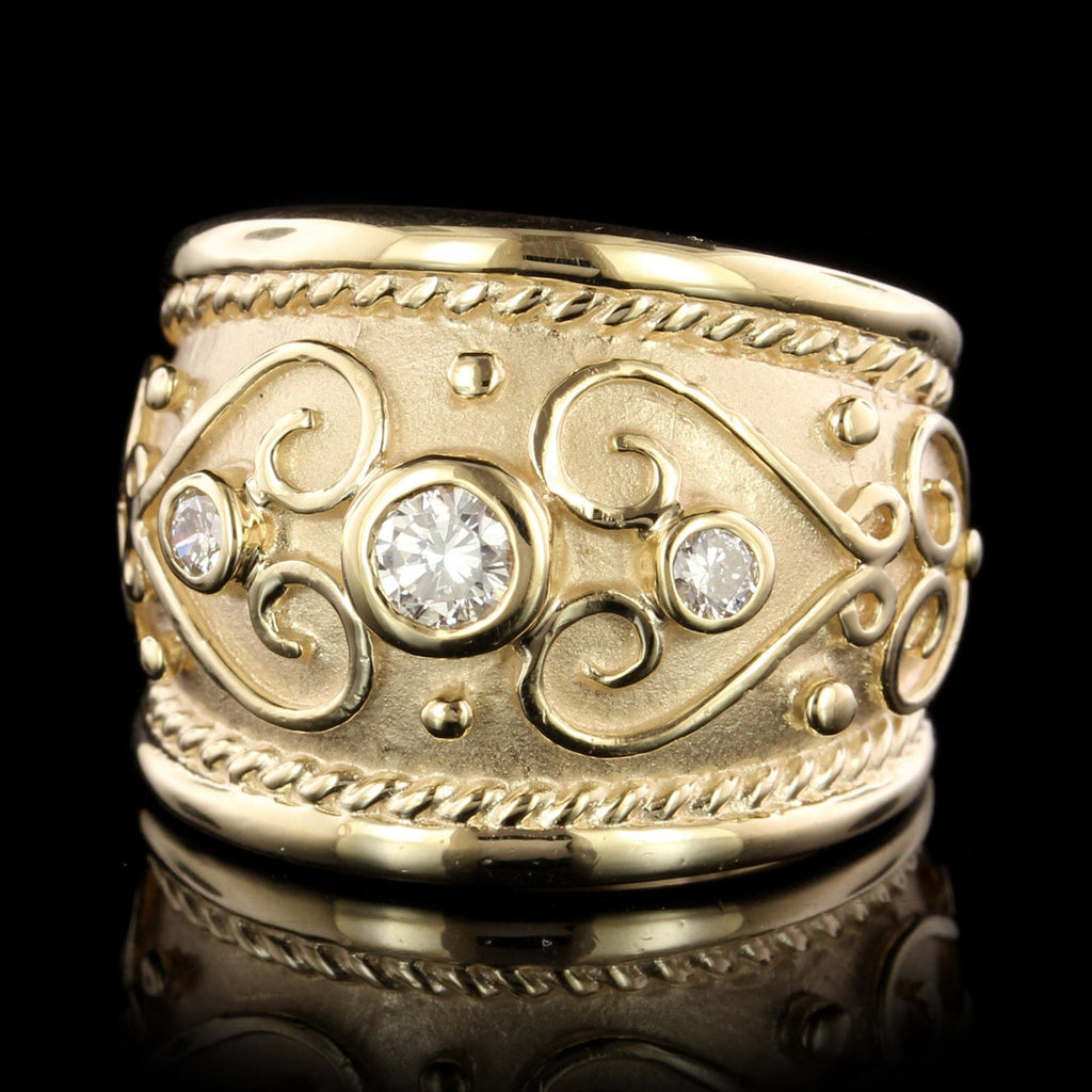 14K Yellow Gold Diamond Etruscan Style Ring
