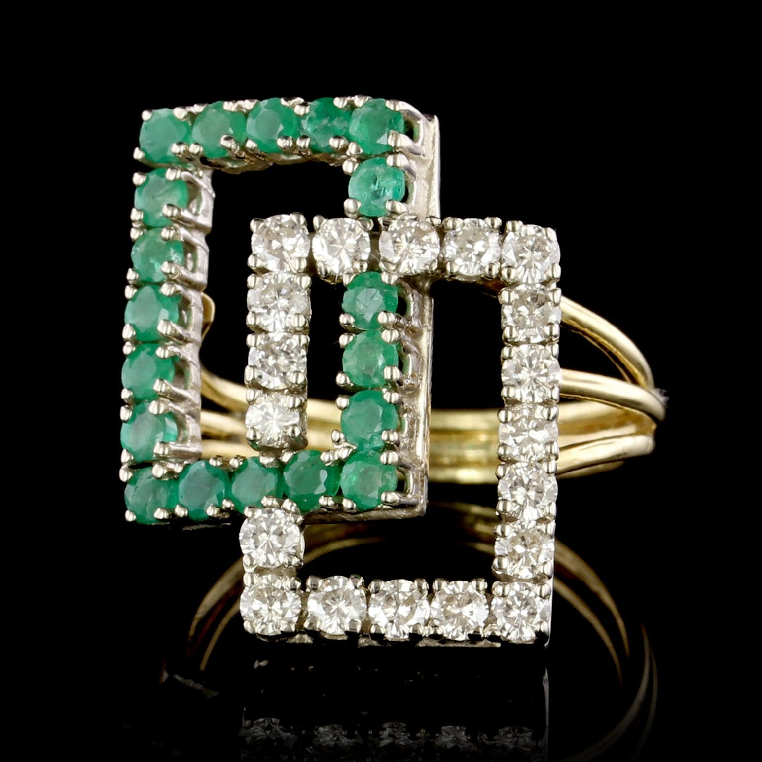 18K Two-tone Gold Estate Emerald and Diamond Ring