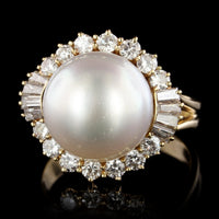 18K Yellow Gold Estate Cultured Pearl and Diamond Ring