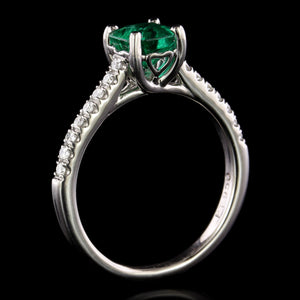 Platinum Estate Emerald and Diamond Ring