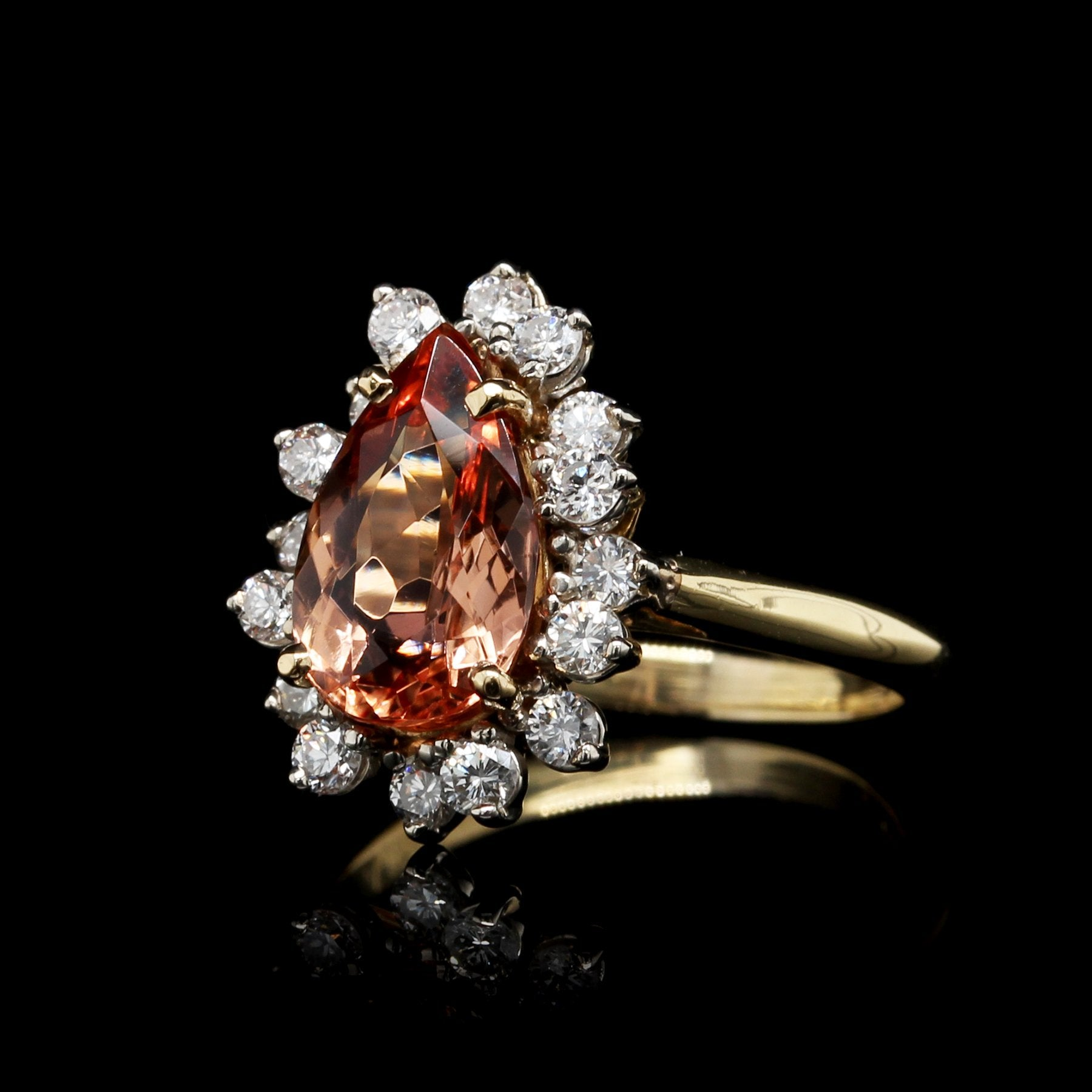 18K Two-tone Gold Estate Imperial Topaz and Diamond Ring