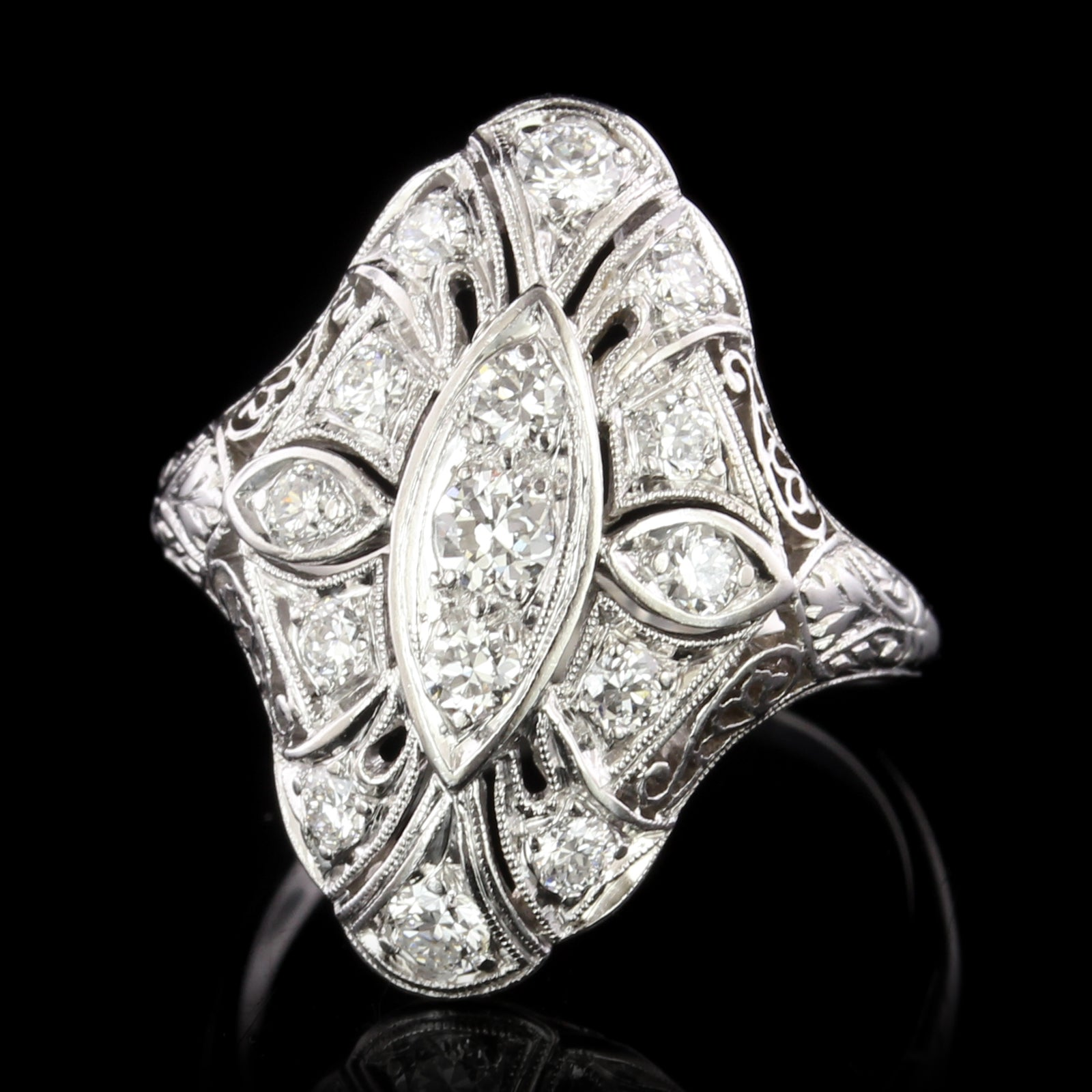 Vintage Platinum and 14K White Gold Estate Diamond Ring