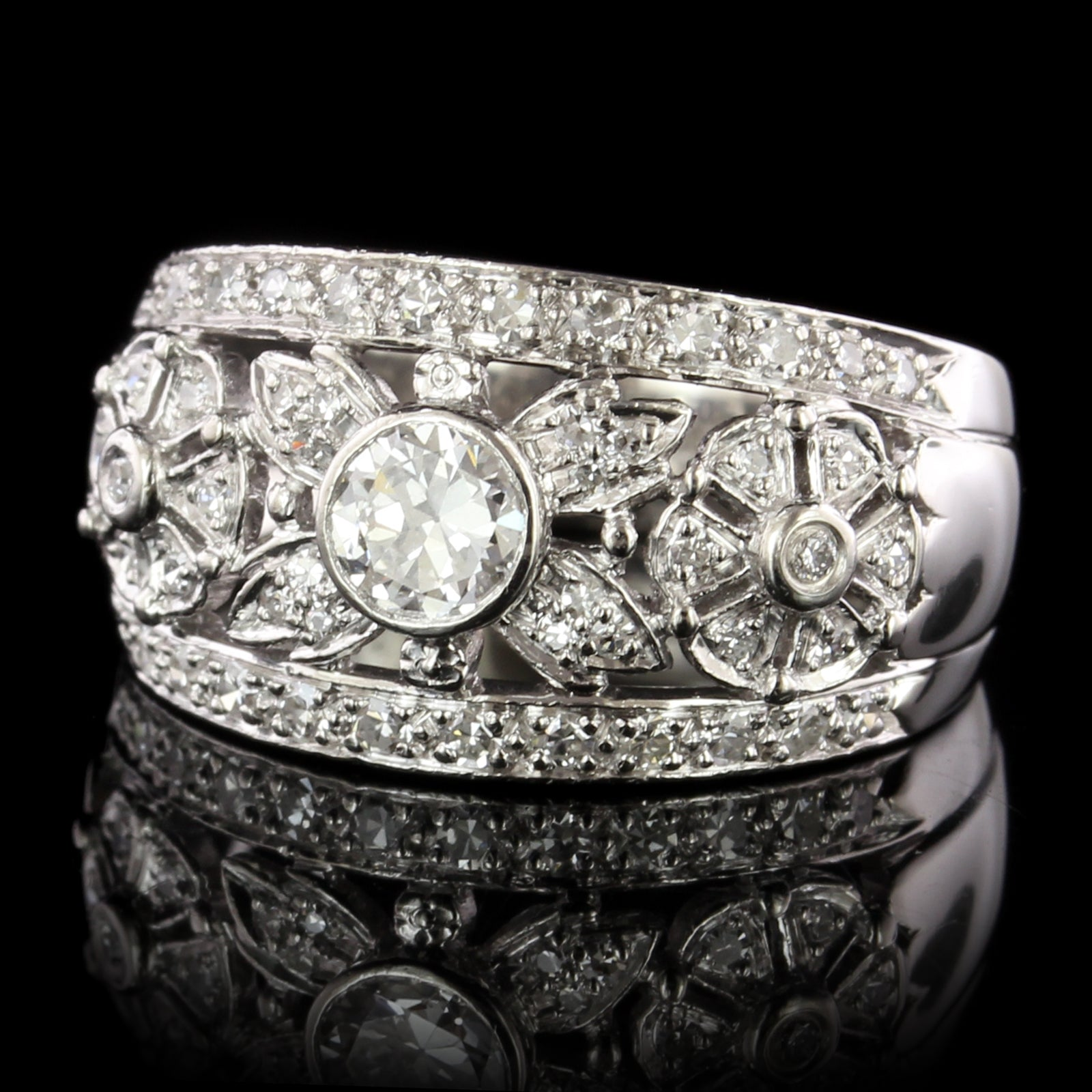 Vintage Style Platinum Estate Diamond Ring