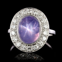 Platinum Vintage Star Sapphire and Diamond Ring