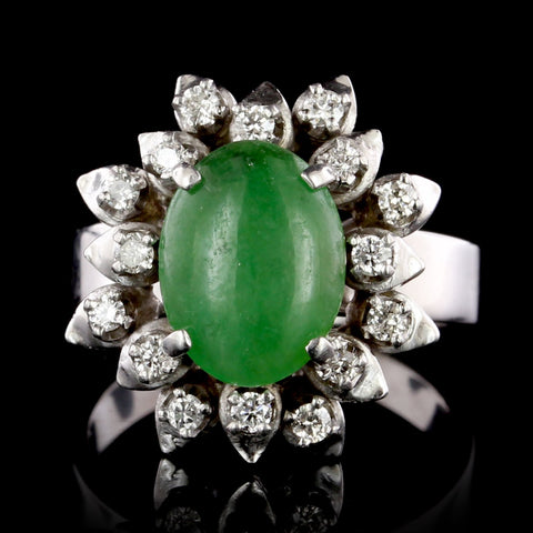 14K White Gold Estate Jadeite and Diamond Ring