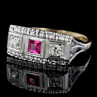 14K Two-tone Gold Estate Synthetic Ruby and Diamond Ring