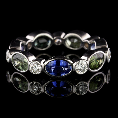 Gumuchian 18K White Gold Estate Colored Sapphire and Diamond Ring
