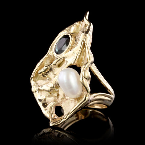 14K Yellow Gold Estate Cultured Freshwater Pearl and Green Tourmaline Ring