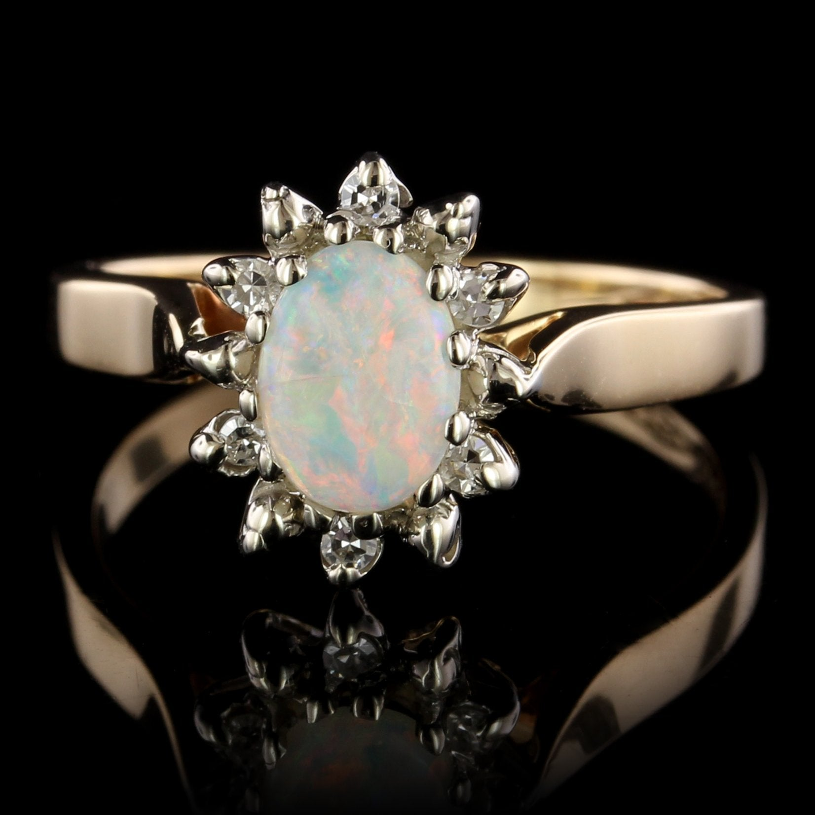 14K Two-tone Gold Estate Opal and Diamond Ring