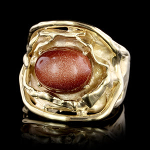 14K Yellow Gold Estate Goldstone Ring
