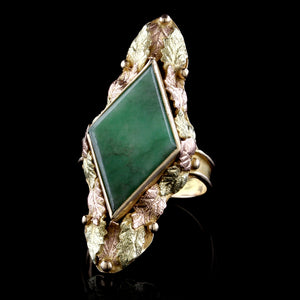 Vintage 14K Rose and Yellow Gold Estate Jade Ring