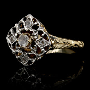 18K Two-tone Gold Estate Diamond Ring