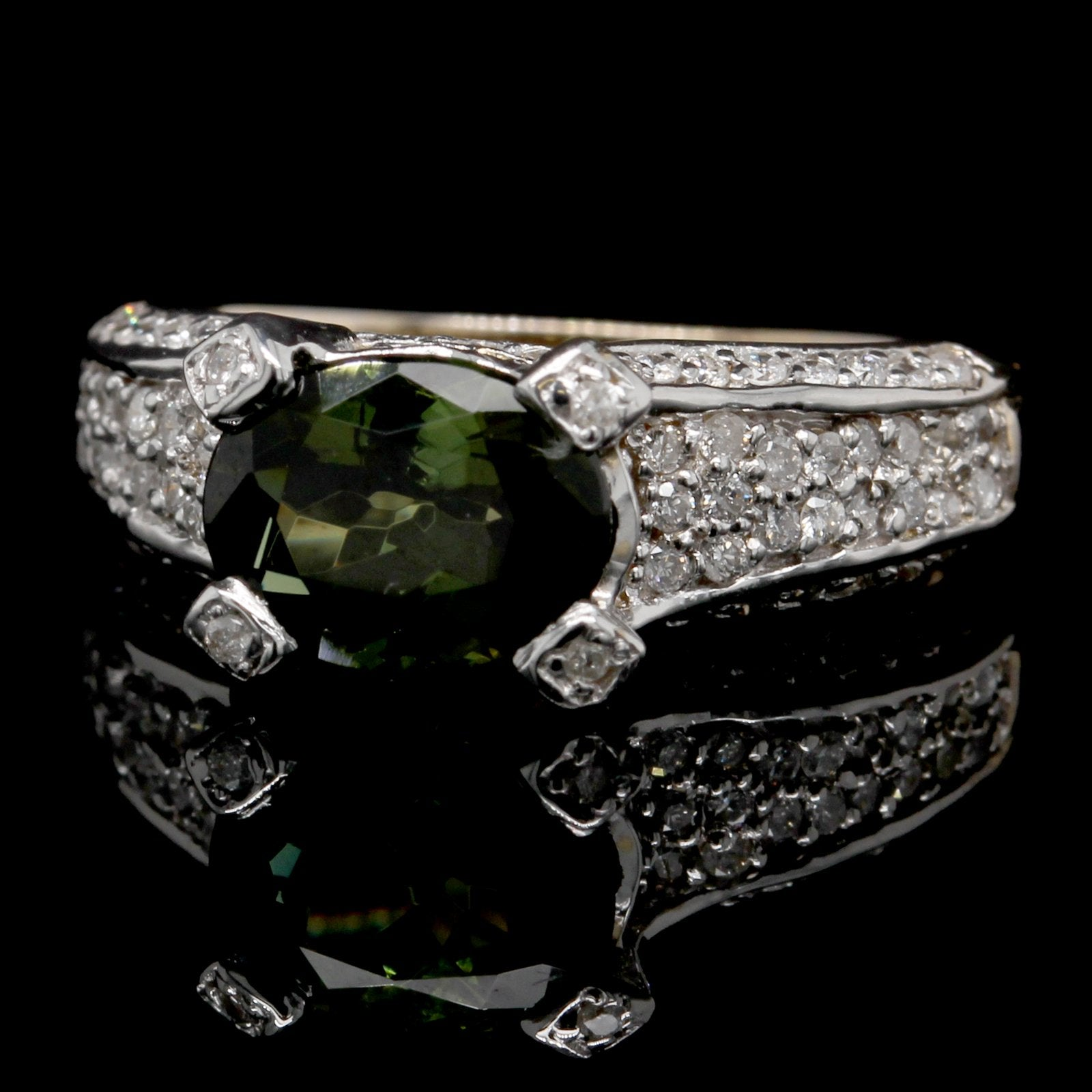 14K White Gold Estate Green Tourmaline and Diamond Ring