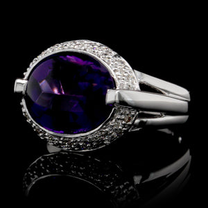 14K White Gold Estate Amethyst and Diamond Ring