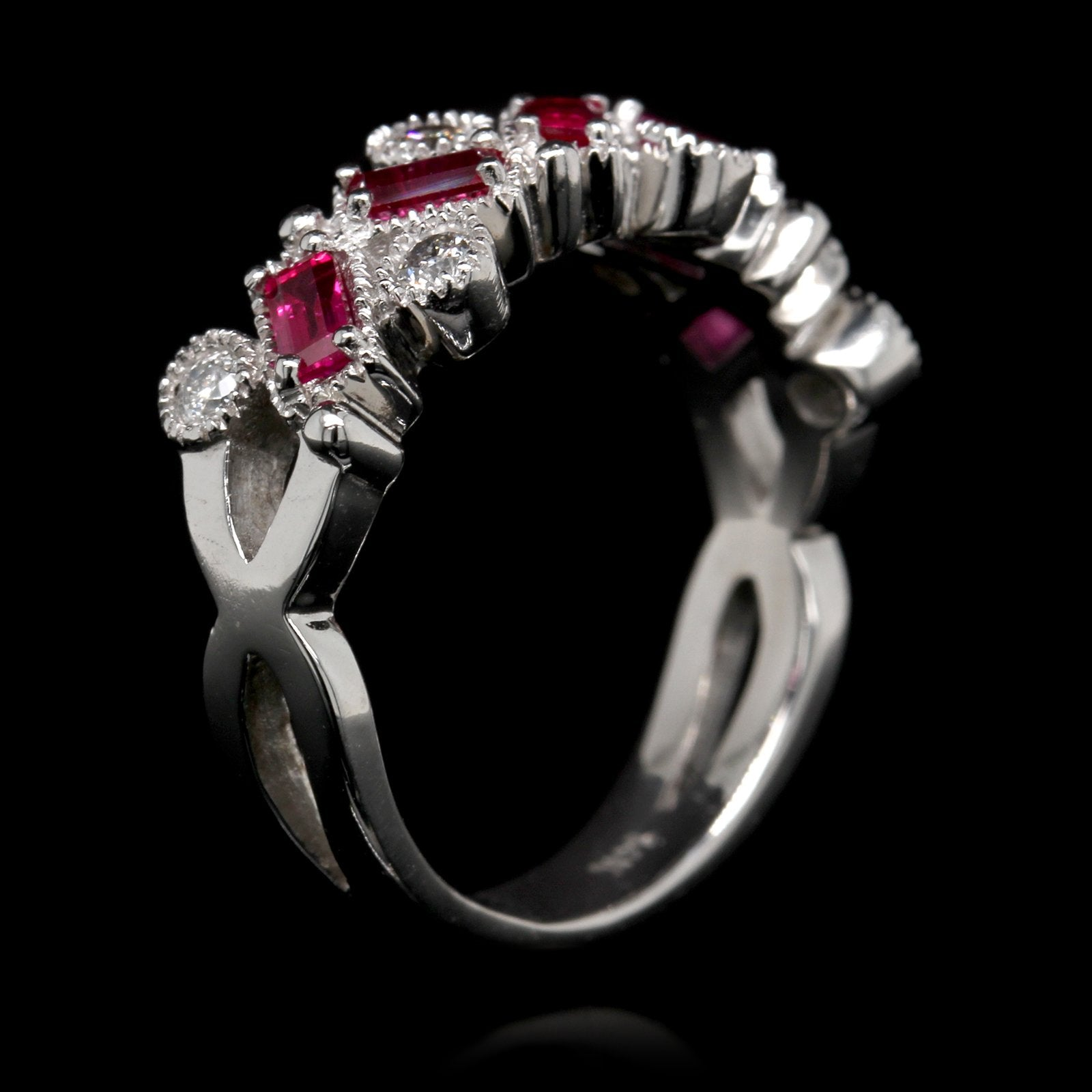 14K White Gold Estate Ruby and Diamond Band