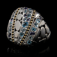 John Hardy Sterling Silver and 18K Yellow Gold Estate Kali Lavafire Sea Colorway Ring