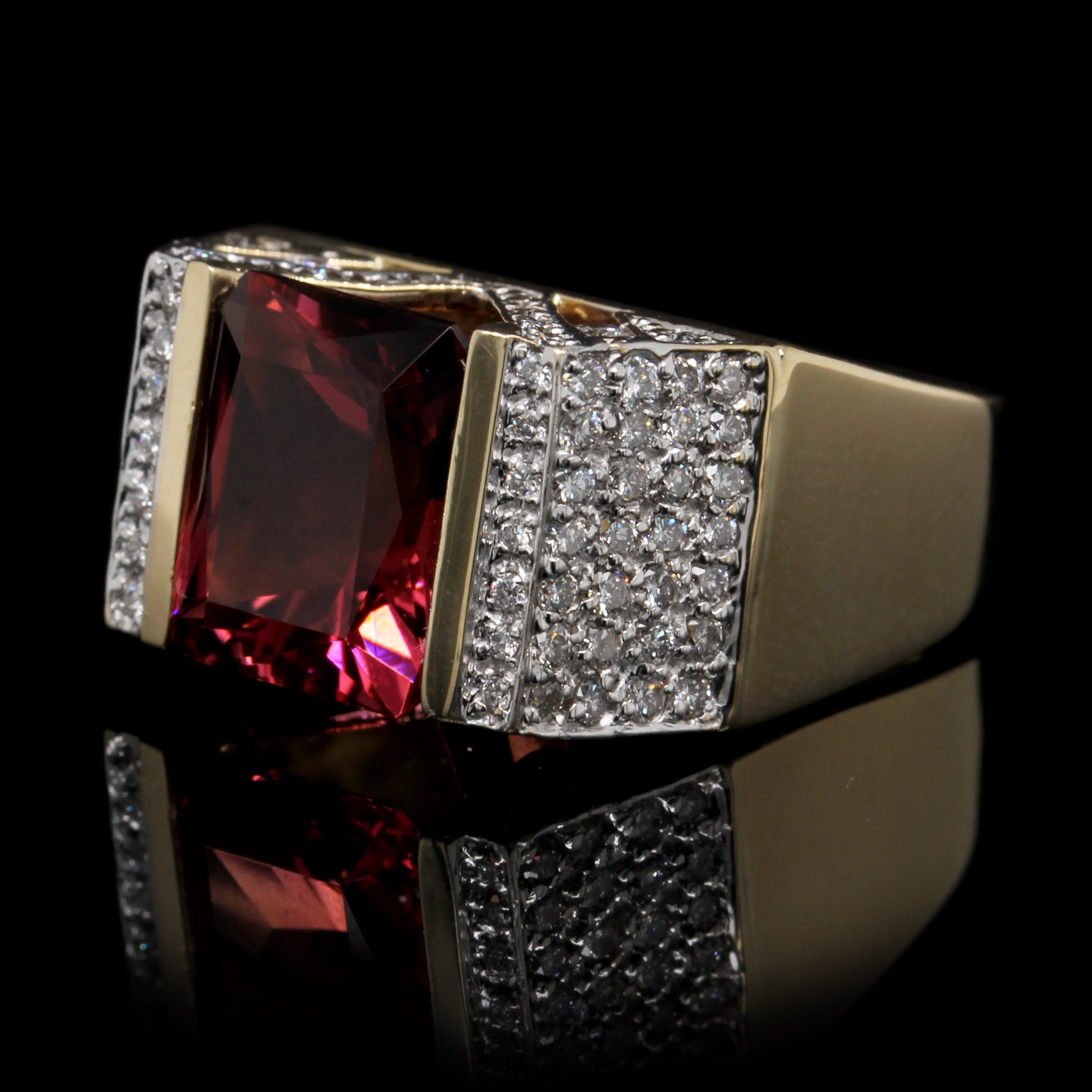 14K Yellow Gold Estate Pink Tourmaline and Diamond Ring