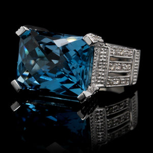 14K White Gold Estate Blue Topaz and Diamond Ring