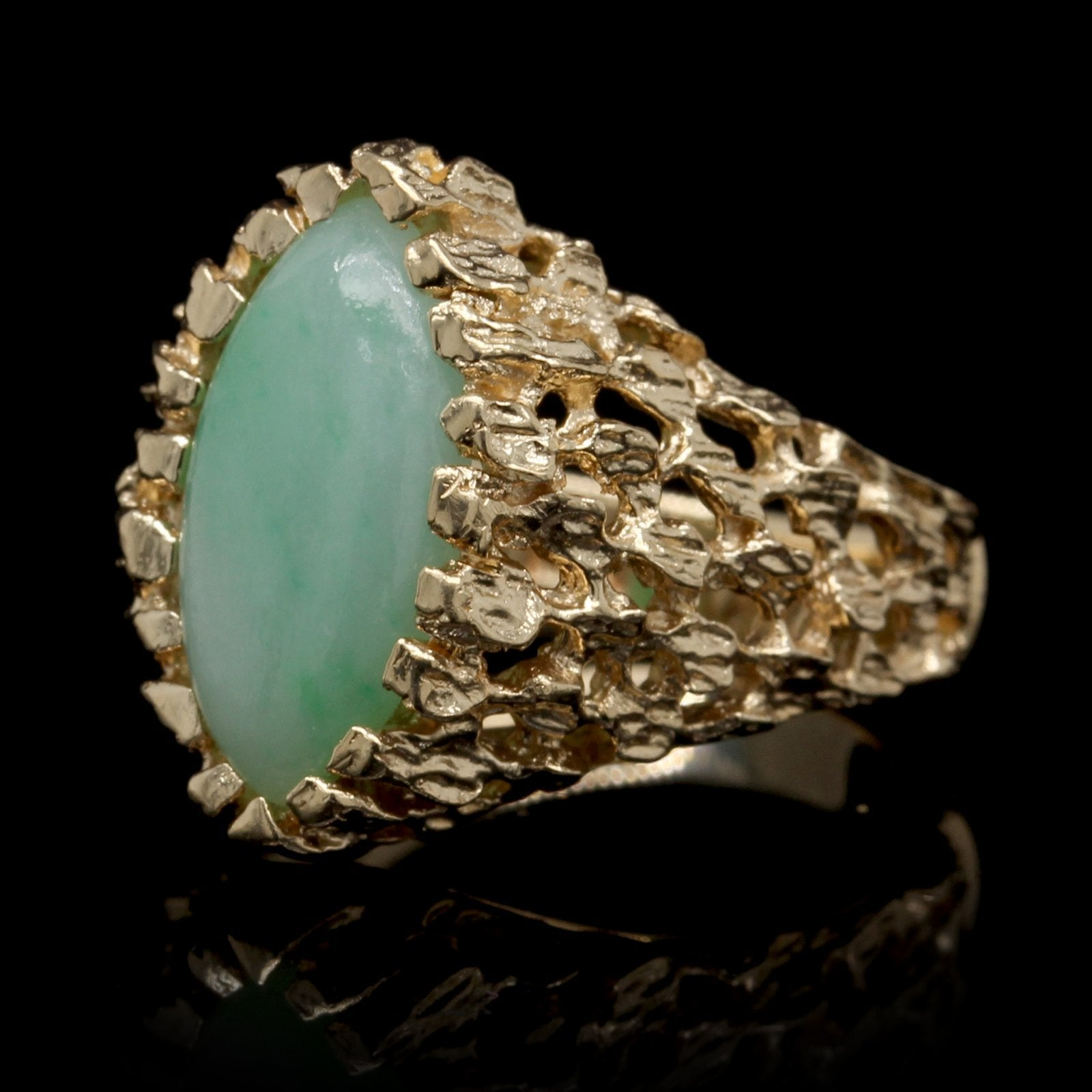 14K Yellow Gold Estate Jadeite Ring