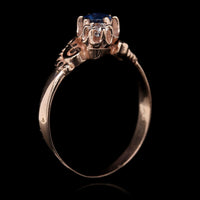Vintage 14K Rose Gold Estate Sapphire and Diamond Ring