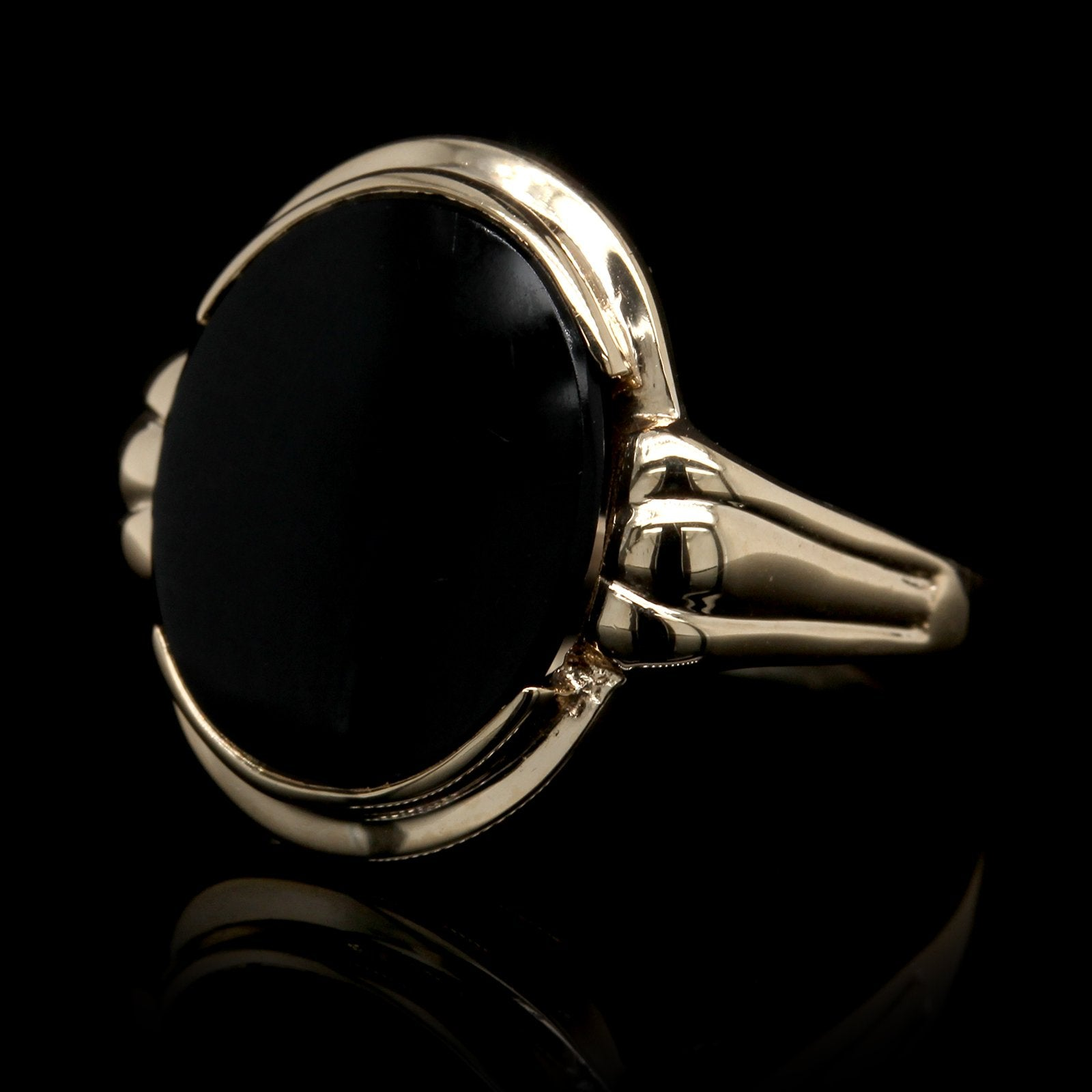 14K Yellow Gold Estate Onyx Ring