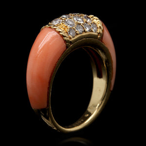 18K Yellow Gold Coral and Diamond Philippine Ring