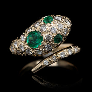14K Yellow Gold Estate Emerald and Diamond Snake Ring