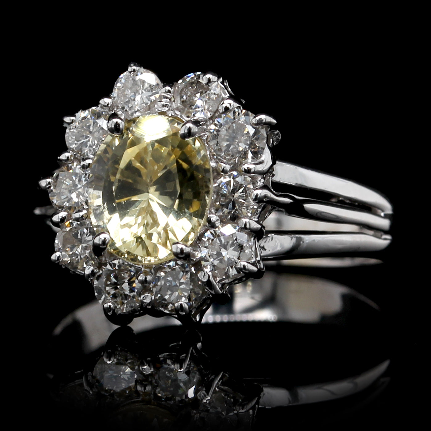 18K White Gold Estate Yellow Sapphire and Diamond Ring