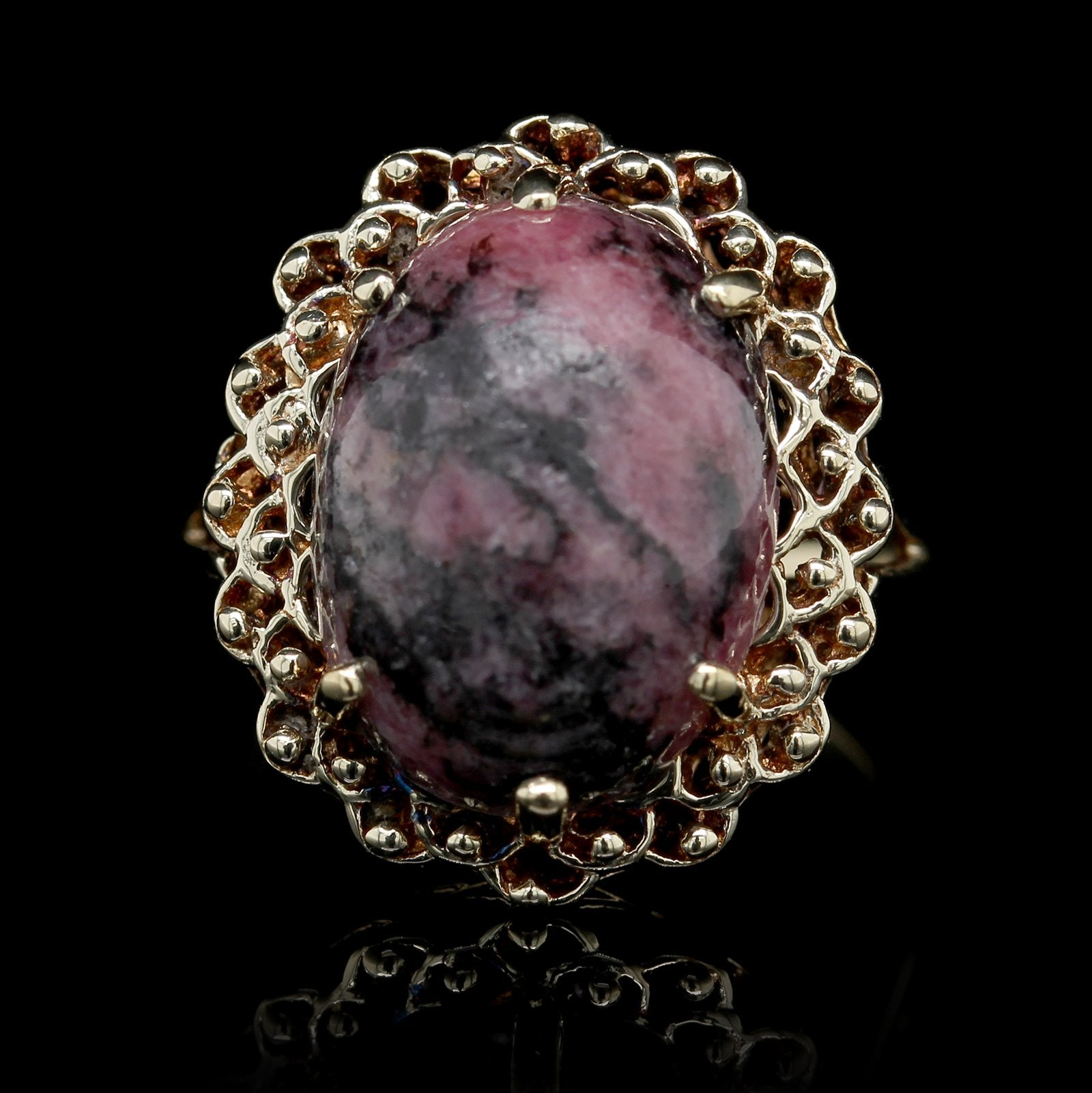 14K Yellow Gold Estate Rhodonite Ring