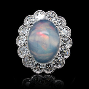 Platinum Estate Opal and Diamond Ring